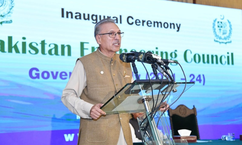 President Dr Arif Alvi addresses the inaugural ceremony of the governing body of the Pakistan Engineering Council at Aiwan-i-Sadr on Monday. — Photo courtesy PID website