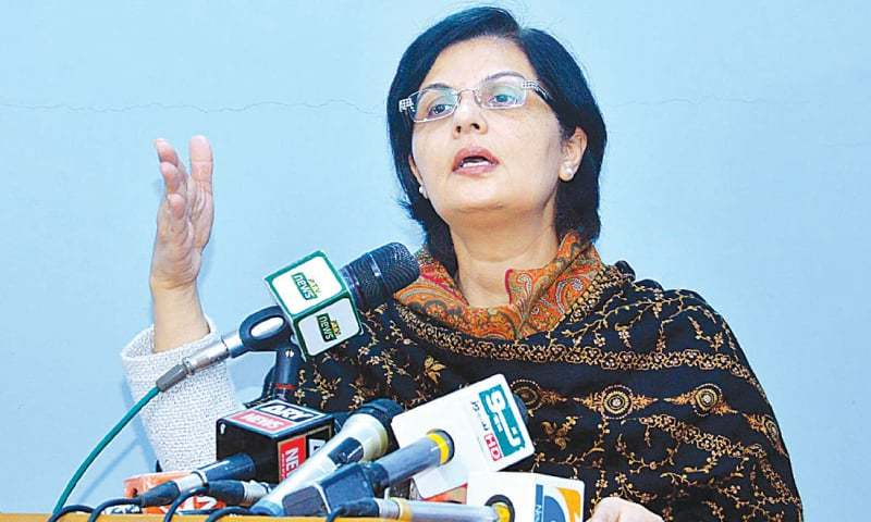 In this file photo, Special Assistant to the Prime Minister on Poverty Alleviation and Social Protection Dr Sania Nishtar speaks to the media in Karachi. — APP/File