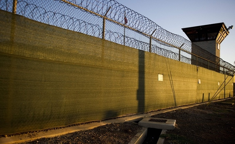 """In this file image reviewed by the US military shows the guard tower of """"Camp Six"""" detention facility of the Joint Detention Group at the US Naval Station in Guantanamo Bay, Cuba, on January 19, 2012. — AFP"""