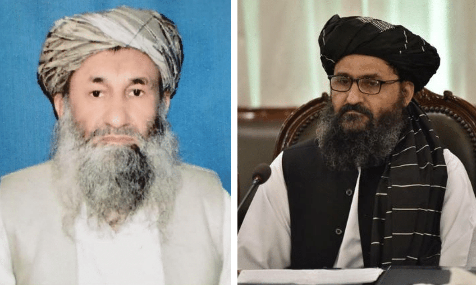 This combination photo shows the new Afghan government's acting Prime Minister Mohammad Hasan Akhund (L) and acting Deputy Prime Minister Abdul Ghani Baradar (R). — Afghanistan Information Ministry/ Reuters