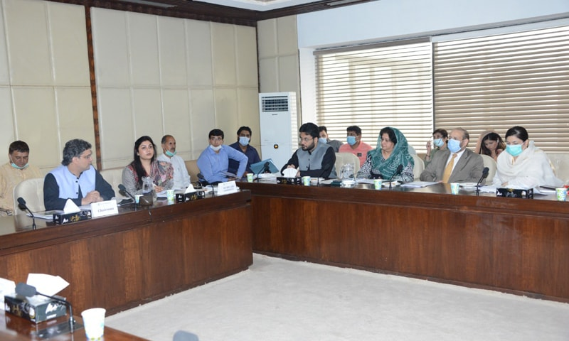 Senator Faisal Javed presiding over the meeting of Senate Standing Committee on Information and Broadcasting at the Parliament House. — Photo courtesy Senate of Pakistan Twitter