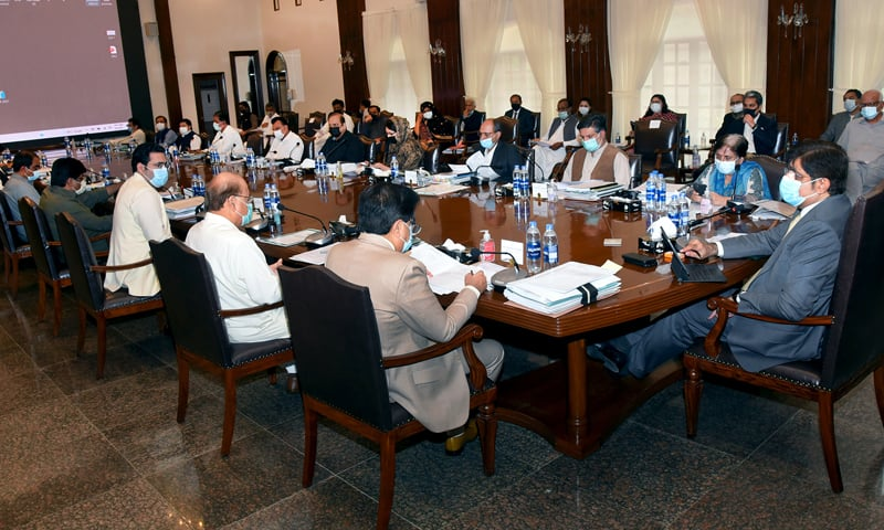 Sindh Chief Minister Syed Murad Ali Shah presides over a cabinet meeting on Tuesday. — Photo courtesy Sindh Chief Minister's House Twitter