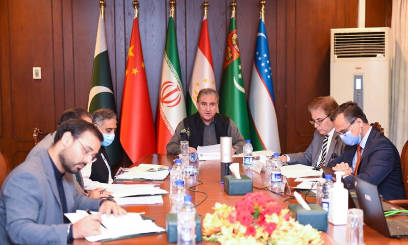 Foreign Minister Shah Mahmood Qureshi addresses a virtual meeting of the foreign ministers of Afghanistan's neighbouring countries. — Photo courtesy Shah Mahmood Qureshi Twitter