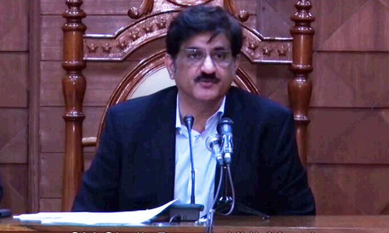 In this file photo, Sindh Chief Minister Syed Murad Ali Shah addresses a press conference. — DawnNewsTV