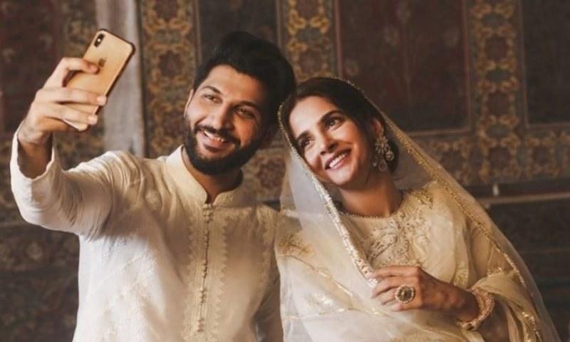 "Screengrab of actor Saba Qamar and singer Bilal Saeed from their music video for ""Qubool hai"". — DawnNewsTV screengrab/File"