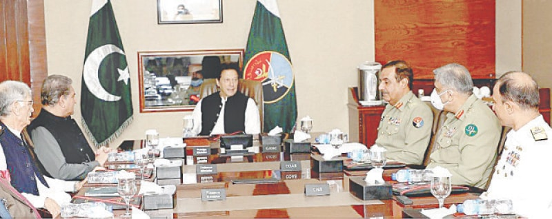 ISLAMABAD: Prime Minister Imran Khan chairs a meeting of the National Command Authority at the headquarters of Strategic Plans Division on Wednesday.—INP