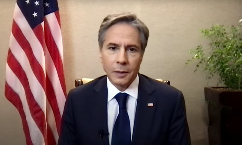 This screengrab shows US Secretary of State Antony Blinken during an interview with Tolo News. — Photo courtesy Tolo News Youtube