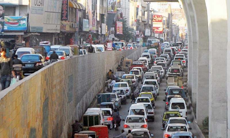 This file photo shows traffic  jam at Committee Chowk underpass in Rawalpindi. — Online