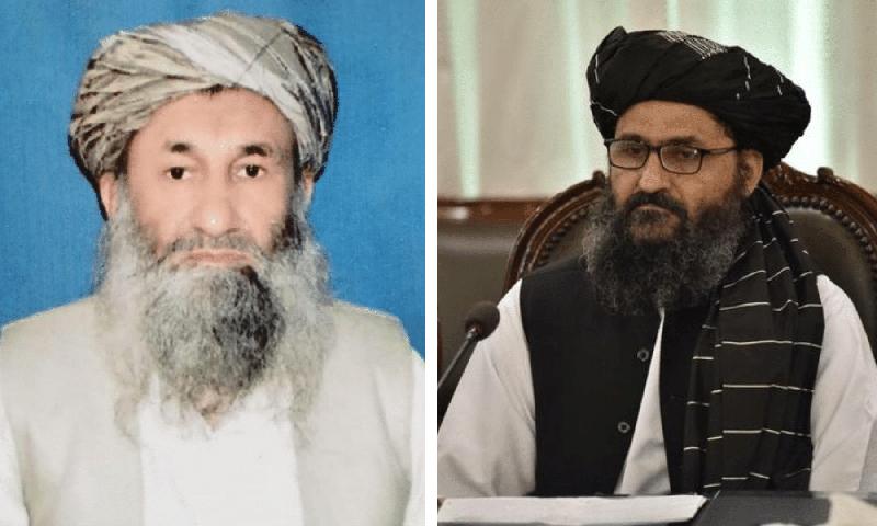 طالبان حکومت کے عبوری وزیرِاعظم محمد حسن اخند (بائیں) اور نائب وزیرِاعظم عبد الغنی برادر (دائیں)