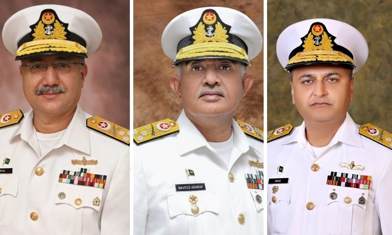 This combo photo shows Vice Admiral Imran Ahmad (left),  Vice Admiral Naveed Ashraf (middle) and Vice Admiral Ovais Ahmed  Bilgrami. — Photos provided by author