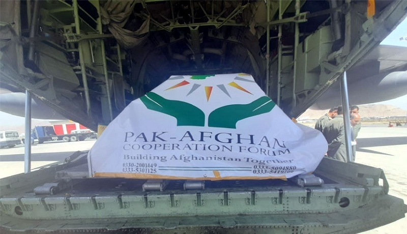 PAF's C-130 aircraft carrying relief goods for Afghans lands at the Kabul airport on Thursday. — Picture via Radio Pakistan