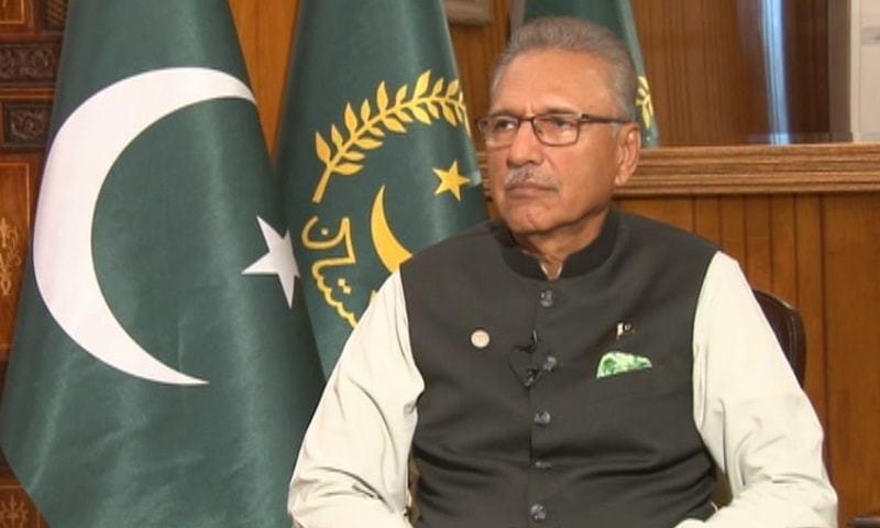 President Arif Alvi speaks during an interview on DawnNews. — Screengrab