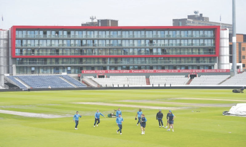 MANCHESTER: England players attend a practice session at Old Trafford on Thursday.—AP