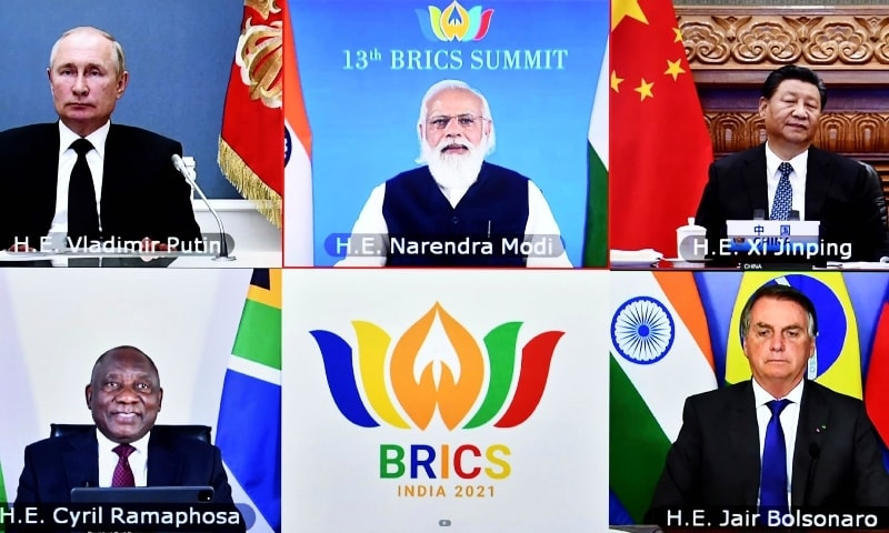 This handout photograph provided by the Press Information Bureau shows leaders of the BRICS nations, clockwise from top left, Russian President Vladimir Putin, Indian Prime Minister Narendra Modi, Chinese President Xi Jinping, South African President Cyril Ramaphosa and Brazilian President Jair Bolsonaro during a video conference, in New Delhi on Thursday. — AP