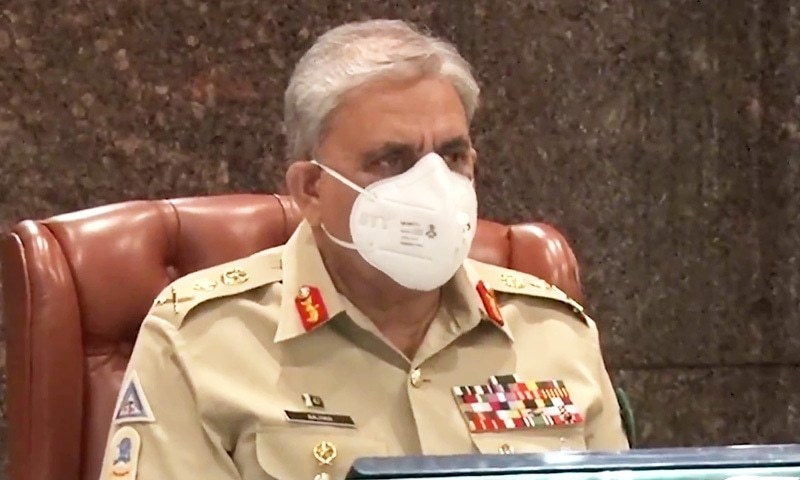 Chief of Army Staff Gen Qamar Javed Bajwa chairs a meeting of the Corps Commanders Conference (CCC) at the General Headquarters in Rawalpindi, on Friday. — Screengrab via DG ISPR Twitter