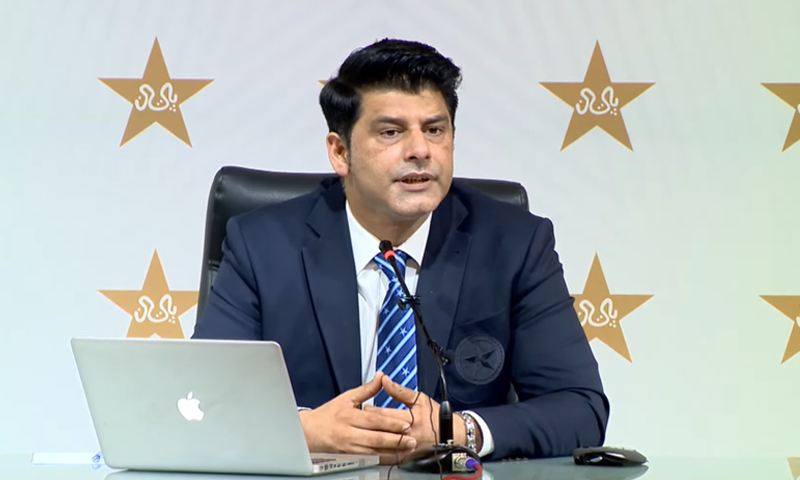 Pakistan Cricket Board (PCB) Chief Selector Mohammad Wasim addresses a press conference in this file photo. — DawnNewsTV/File