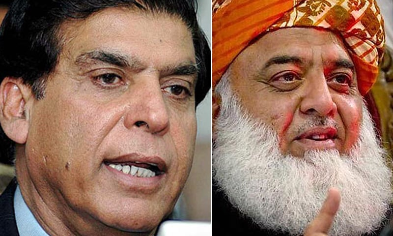 A combination photo of former prime minister and PPP leader Raja Pervaiz Ashraf (L) and Pakistan Democratic Movement President Maulana Fazlur Rehman. — APP/File