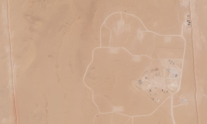In this satellite photo provided by Planet Labs Inc., an area of Prince Sultan Air Base in Saudi Arabia that once saw Patriot missile batteries stationed with one advanced Terminal High Altitude Air Defence unit stands empty on Friday. — AP