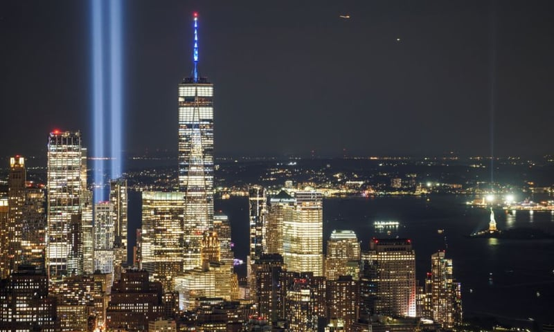 The Tribute in Light art installation is seen from Empire State Building, commemorating the 20th anniversary of the September 11, 2001 attacks, in New York City, New York, US on September 11. — Reuters