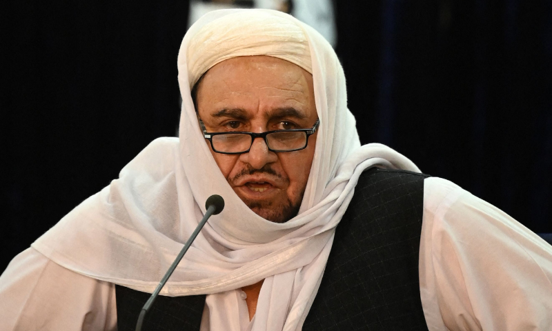 Taliban's acting Higher Education Minister Abdul Baqi Haqqani speaks during a press conference in Kabul on Sunday.