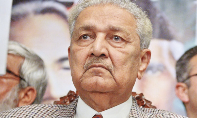 Dr Abdul Qadeer Khan said his condition was improving and he was not getting oxygen artificially on a regular basis. — AFP/File