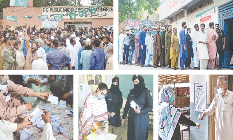 (Clockwise) Supporters of different political parties gather outside a polling station during the cantonment boards' elections in Lahore on Sunday. People wait to enter a polling station in Hyderabad. An official checks the temperature of a voter as part of the Covid SOPs before allowing her to enter a polling station in Rawalpindi. A woman casts her vote at a polling station set up in FG Degree College in Peshawar. Ballots are being counted at a polling station in Karachi.—Online / Umair Ali / APP / Shahbaz Butt / Shakil Adil