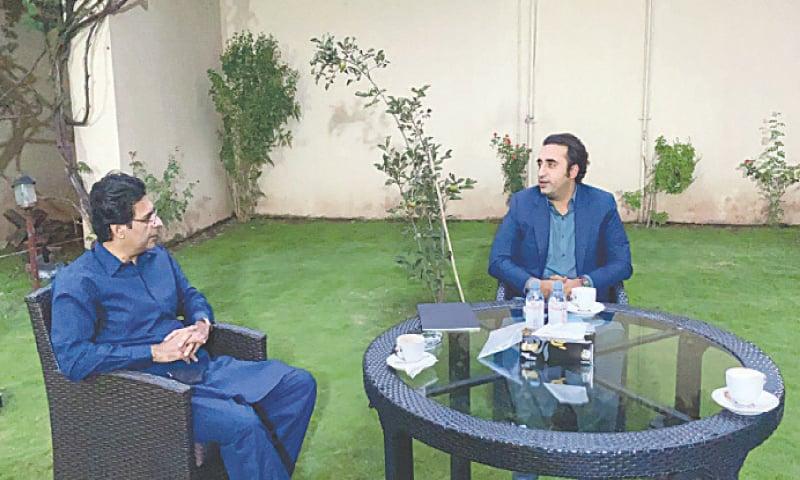 ISLAMABAD: PML-Q leader Chaudhry Moonis Elahi meets PPP chairman Bilawal Bhutto-Zardari at Zardari House  on Sunday.—Dawn