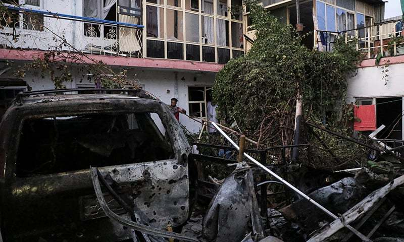 General view of a house destroyed after a rocket attack in Kabul, Afghanistan, August 29. — Reuters/File