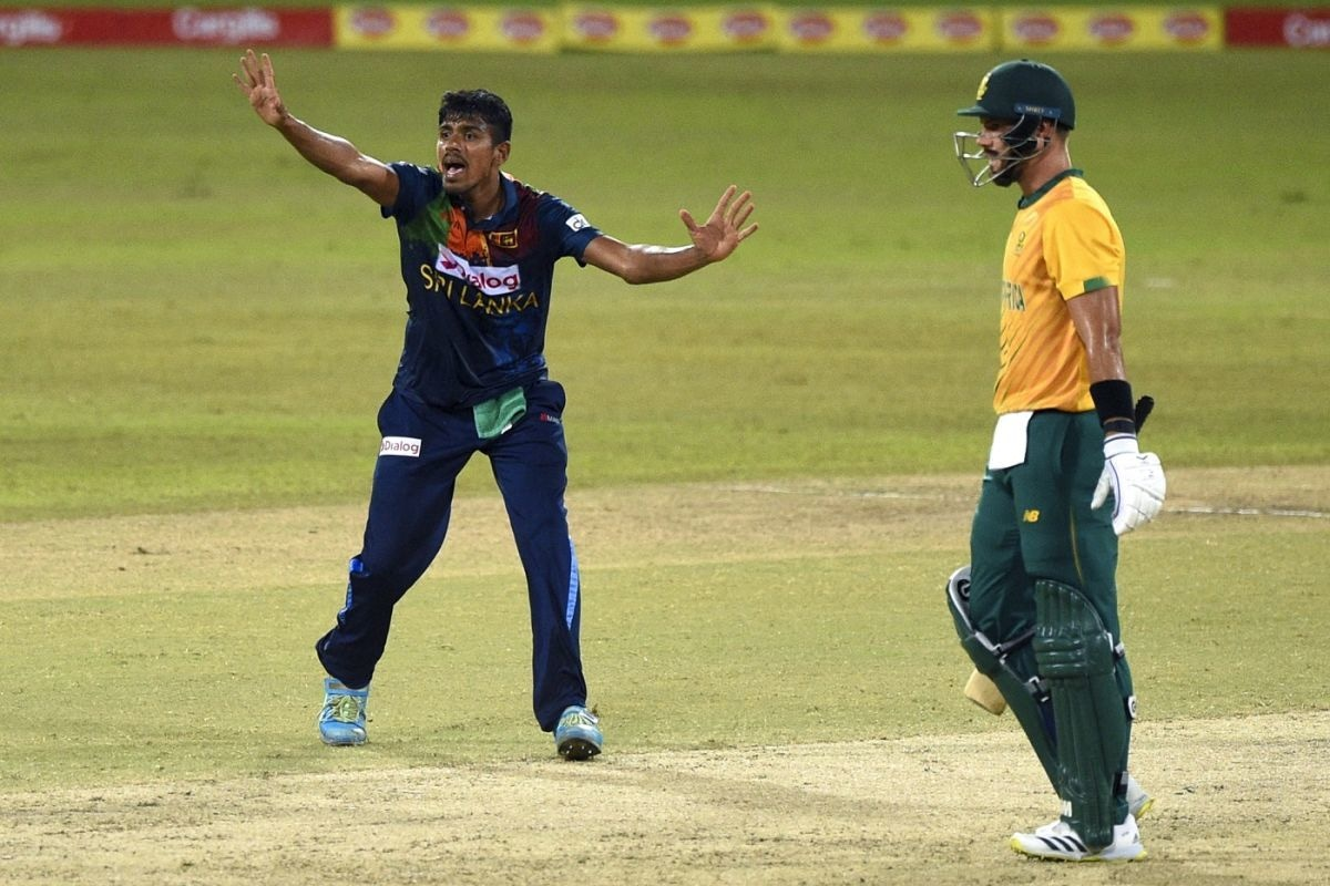 Maheesh Theekshana appeals during a match between Sri Lanka and South Africa in Colombo on September 10. — AFP