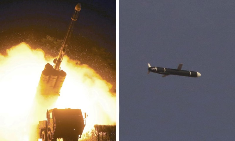 The Academy of National Defence Science conducts long-range cruise missile tests in North Korea, as pictured in this combination of undated photos supplied by North Korea's Korean Central News Agency on September 13. — Reuters