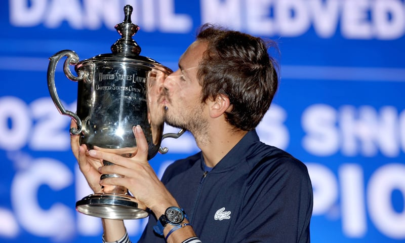 Daniil Medvedev of Russia celebrates with the championship trophy after defeating Novak Djokovic of Serbia to win the Men's Singles final match of the 2021 US Open at the USTA Billie Jean King National Tennis Centre in New York City. — AFP