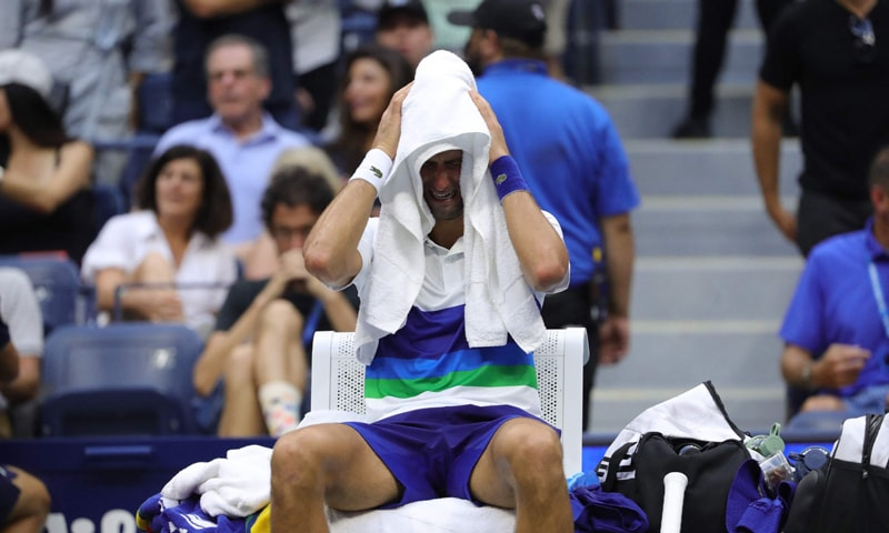 Novak Djokovic of Serbia reacts after Medvedev won the final match of the 2021 US Open Tennis tournament at the USTA Billie Jean King National Tennis Center in New York City. — AFP