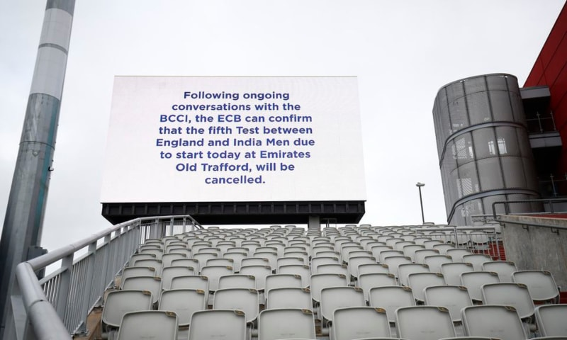 A message is seen displayed on a big screen after India's fifth Test against England was cancelled due to members of the Indian staff contracting Covid-19, Old Trafford, Manchester, Britain, September 10. — Reuters