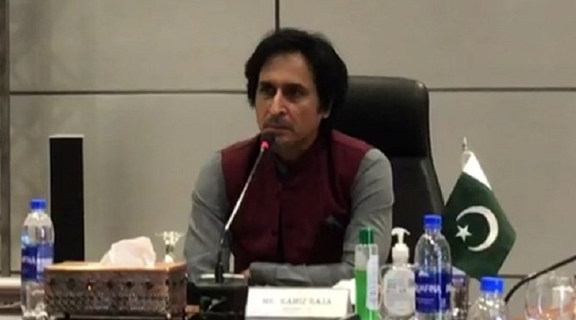 Ramiz Raja chairs a meeting at the PCB headquarters after taking charge as the board chairman on Monday. — Picture courtesy: PCB