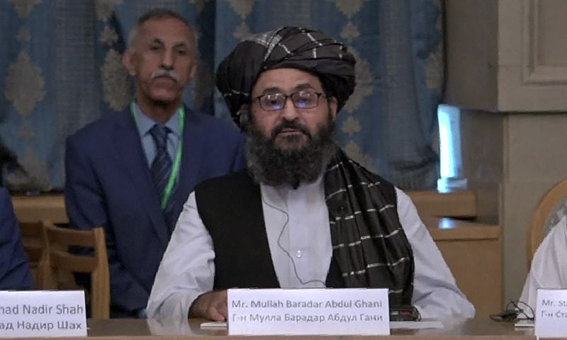 This AFPTV screen grab from a video made on May 28, 2019 in Moscow shows Taliban Mullah Abdul Ghani Baradar during a conference marking a century of diplomatic relations between Afghanistan and Russia. — AFP/ File