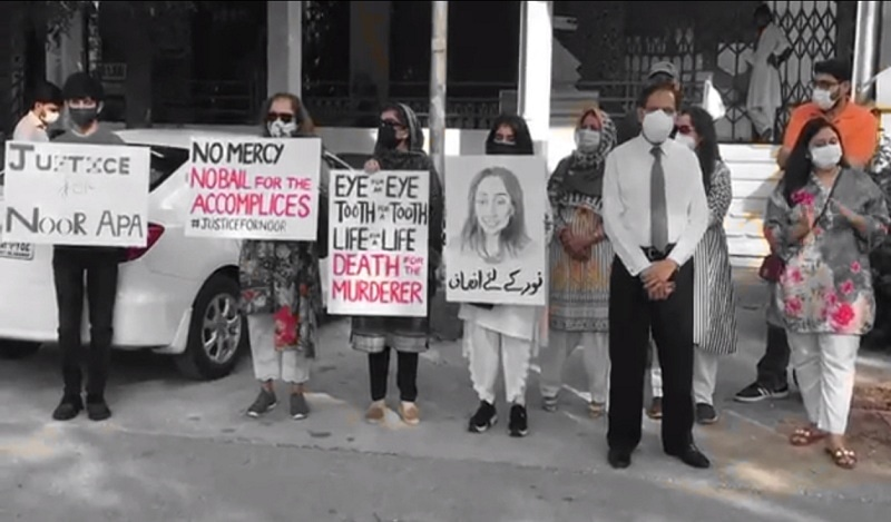 Friends of slain Noor Mukadam stage a protest outside the Islamabad High Court on Monday. — Photo by author