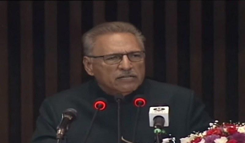 President Dr Arif Alvi addresses a joint sitting of parliament on Monday. — PTV screengrab