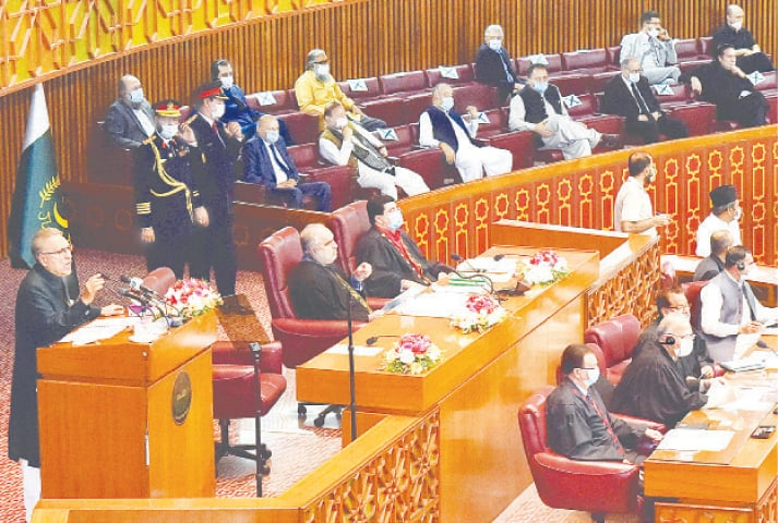 ISLAMABAD: President Dr Arif Alvi addresses the joint session of parliament on Monday.—White Star