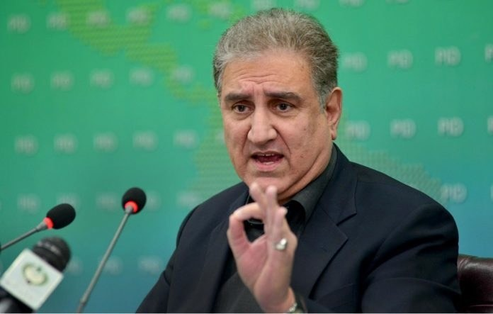 In this file photo, Foreign Minister Shah Mahmood Qureshi addresses a press conference. — APP/File