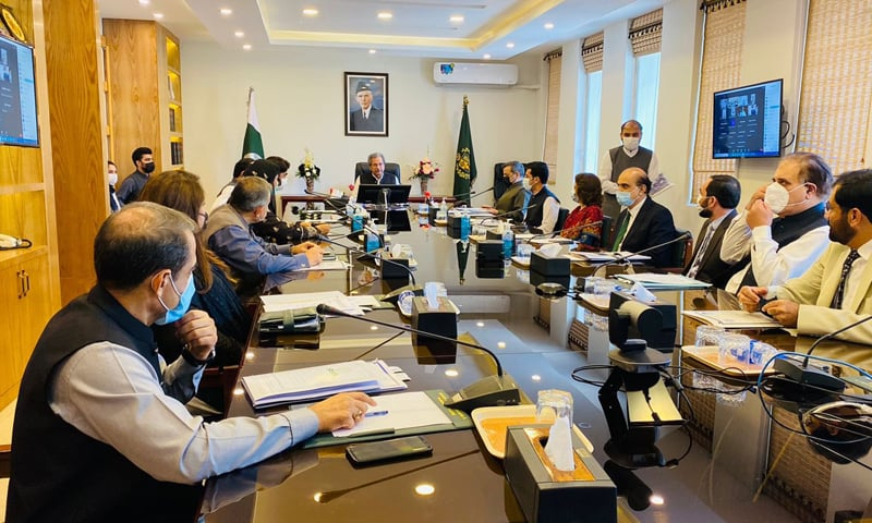 Education Minister Shafqat Mahmood presides over an Inter-Provincial Education Ministers Conference on Monday. — Photo courtesy KP Elementary and Secondary Education Minister Shahram Khan Tarakai Twitter