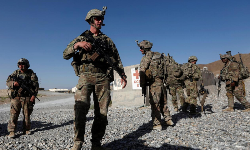 In this file photo, US troops wait for their helicopter flight at an Afghan National Army (ANA) base in Logar province, Afghanistan. — Reuters/File
