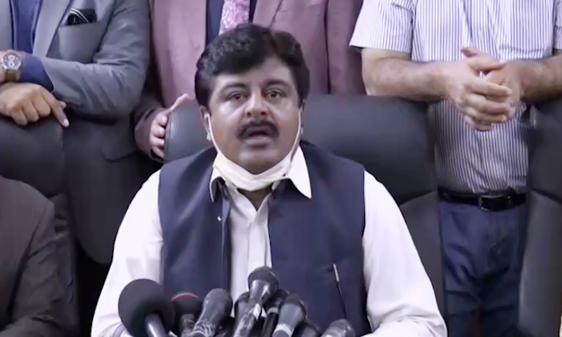 In this file photo, Sindh Education Minister Syed Sardar Ali Shah addresses a press conference in Karachi. — DawnNewsTV