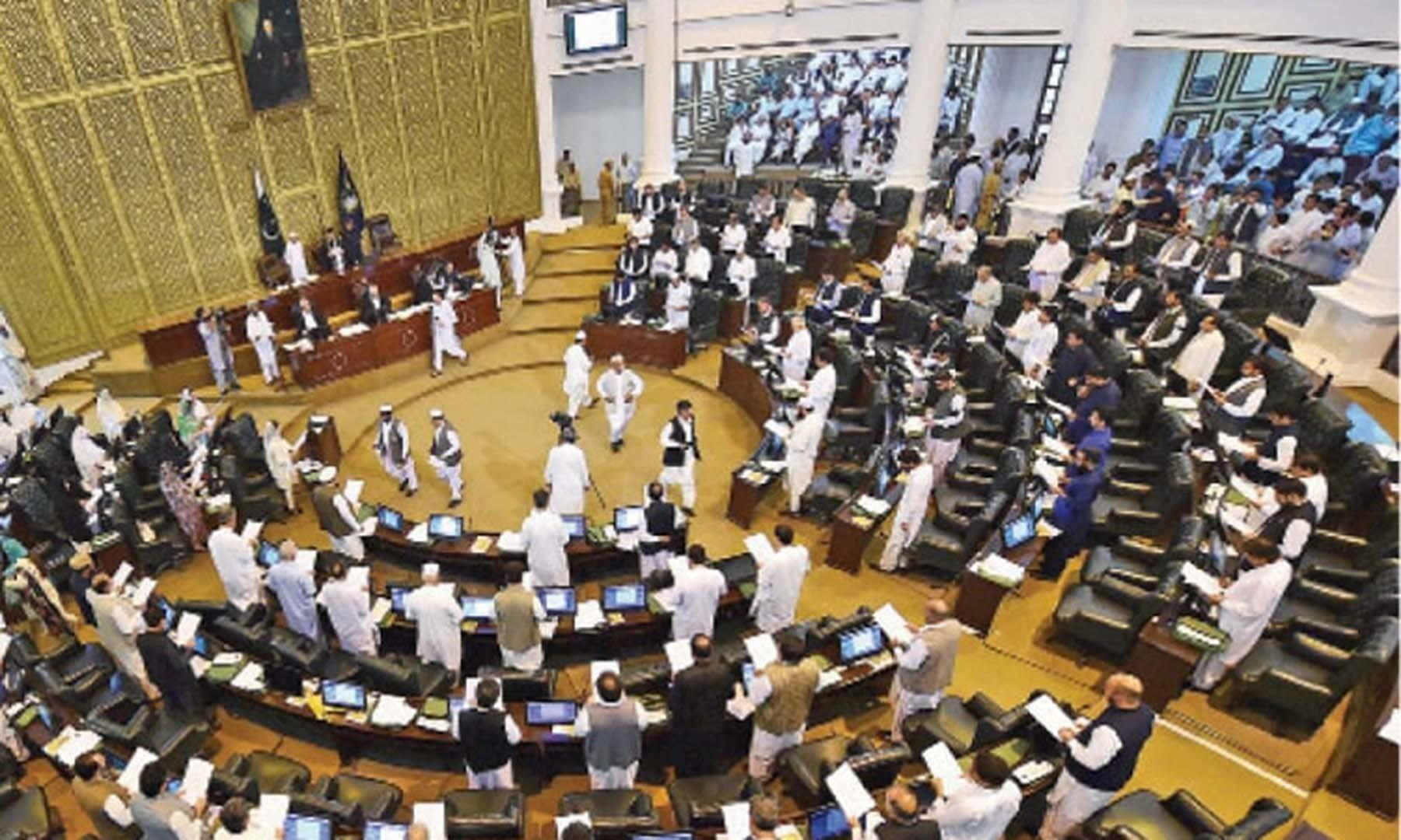 The Khyber Pakhtunkhwa Assembly witnessed pandemonium on Monday after the chair refused to allow members from the merged tribal districts to discuss the controversial recruitment of male and female nurses by the health directorate in the erstwhile Fata. — Photo courtesy Abdul Majeed Goraya/File
