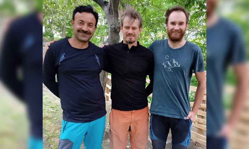 Wajidullah Nagri (L) and Jakub Vicek and Peter Macek of the Czech Republic pose for a photograph. — Photo by Jamil Nagri