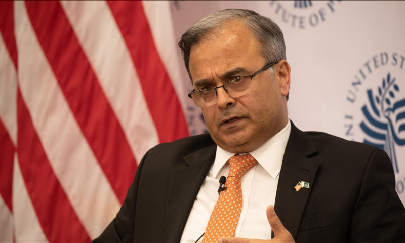Islamabad's envoy in Washington Asad Majeed Khan speaks during a panel discussion titled 'Pakistan's priorities' at the US Institute of Peace (USIP). — Anadolu Agency/File