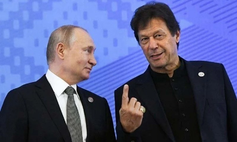Prime Minister Imran Khan and Russian President Vladimir Putin speak prior to a meeting of the Shanghai Cooperation Organisation (SCO) Council of Heads of State in Bishkek on June 14, 2019. — AFP/File