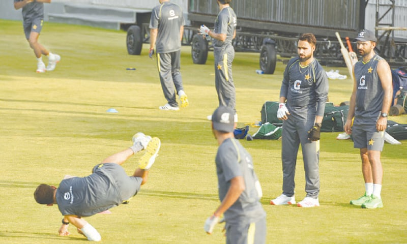 Pakistan cricketers are engaged in training ahead of the One-day International series against New Zealand at the Pindi Cricket Stadium on Tuesday. — Tanveer Shahzad/White Star