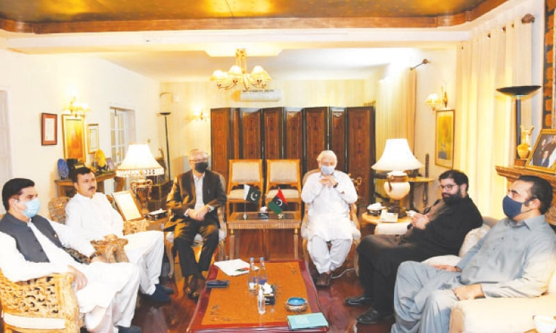 BILAWAL Bhutto-Zardari (right) talking to the Awami National Party delegation.