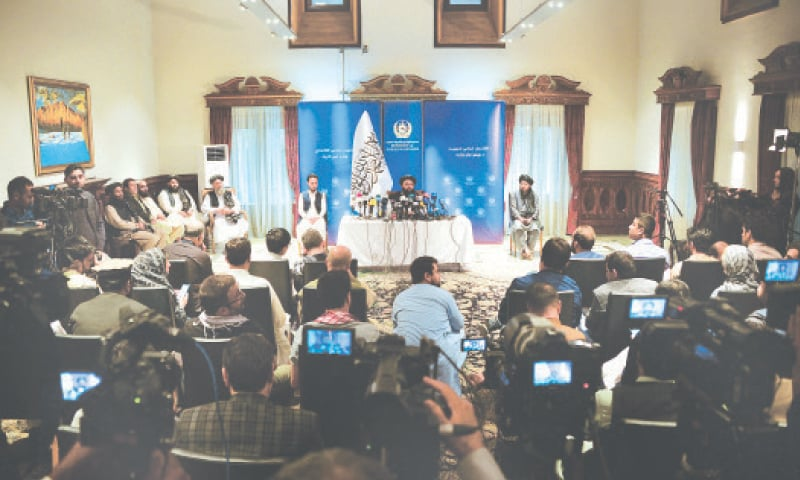 KABUL: Afghanistan's Foreign Minister Amir Khan Muttaqi speaks during a press conference at the Foreign Ministry on Tuesday.—AFP