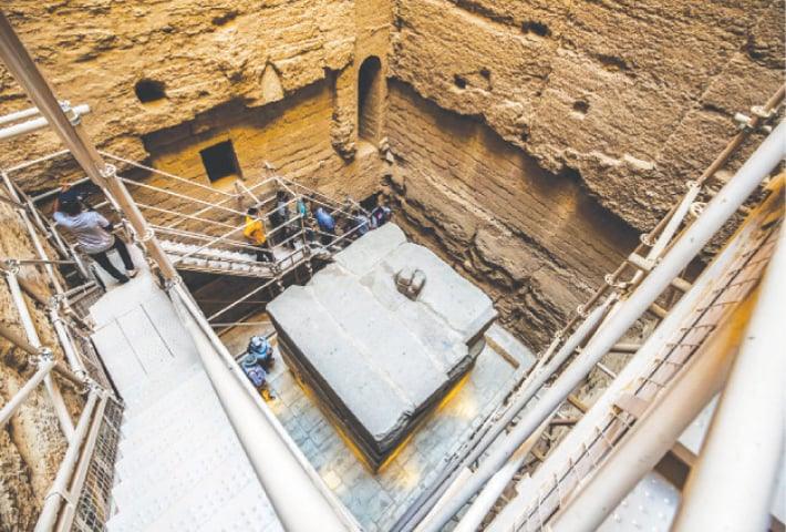 A VIEW of a part of the tomb of third dynasty Egyptian Pharaoh Djoser (27th century BC) at the newly-restored southern cemetery in the Saqqara necropolis, south of Cairo.—AFP